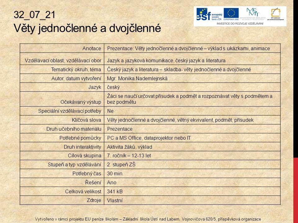 32_07_21 Věty jednočlenné a dvojčlenné Vytvořeno v rámci projektu EU peníze školám – Základní škola Ústí nad Labem, Vojnovičova 620/5, příspěvková org