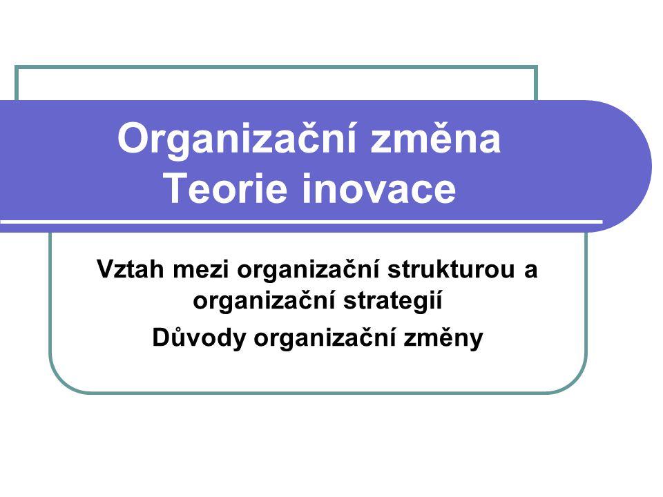 Organizační změna Teorie inovace Vztah mezi organizační strukturou a organizační strategií Důvody organizační změny