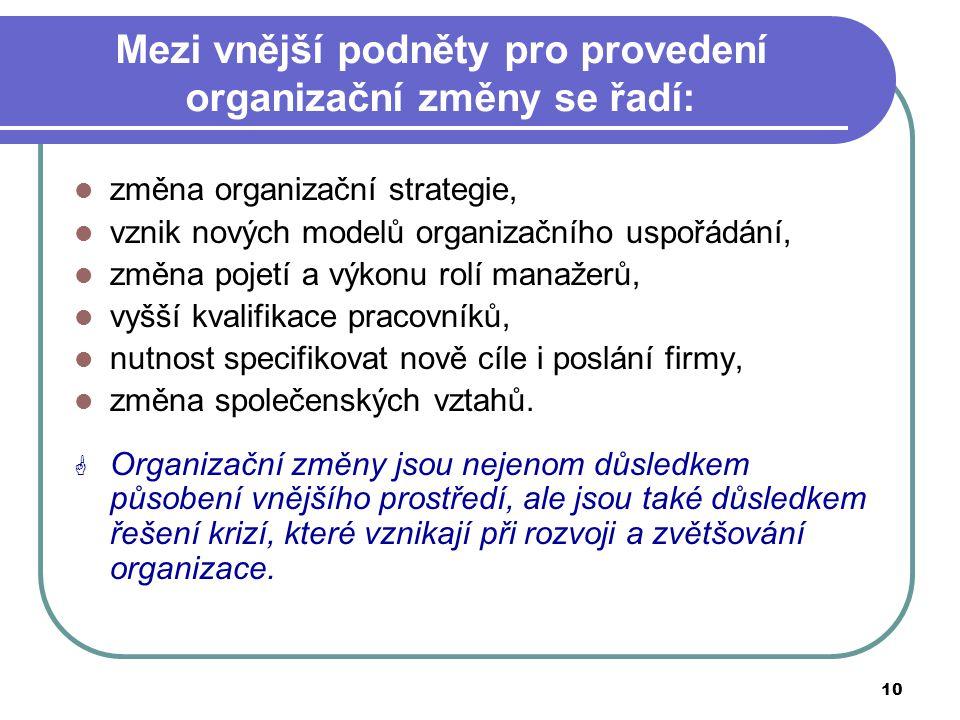 10 Mezi vnější podněty pro provedení organizační změny se řadí: změna organizační strategie, vznik nových modelů organizačního uspořádání, změna pojet