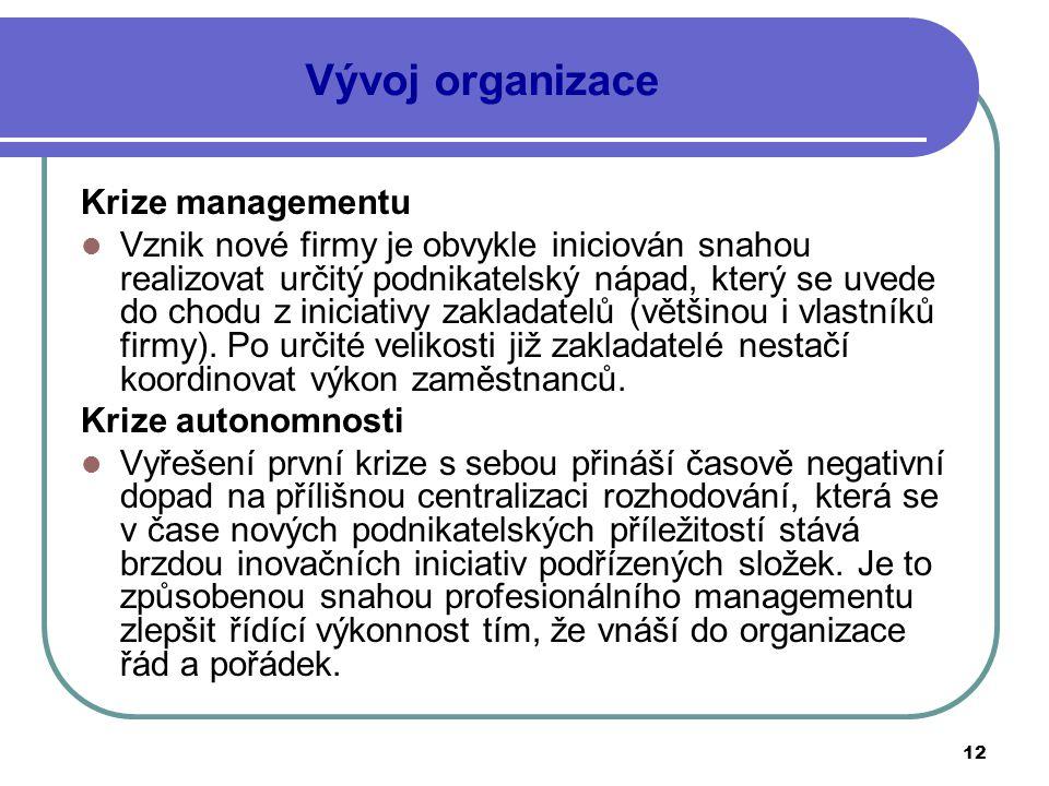 12 Vývoj organizace Krize managementu Vznik nové firmy je obvykle iniciován snahou realizovat určitý podnikatelský nápad, který se uvede do chodu z in