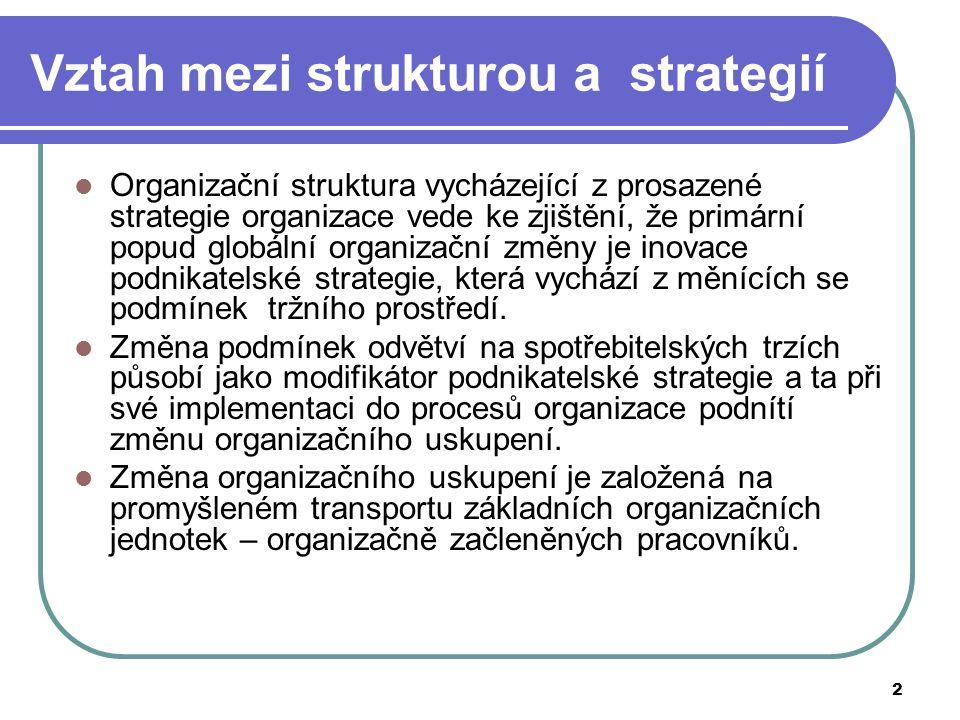 2 Vztah mezi strukturou a strategií Organizační struktura vycházející z prosazené strategie organizace vede ke zjištění, že primární popud globální or