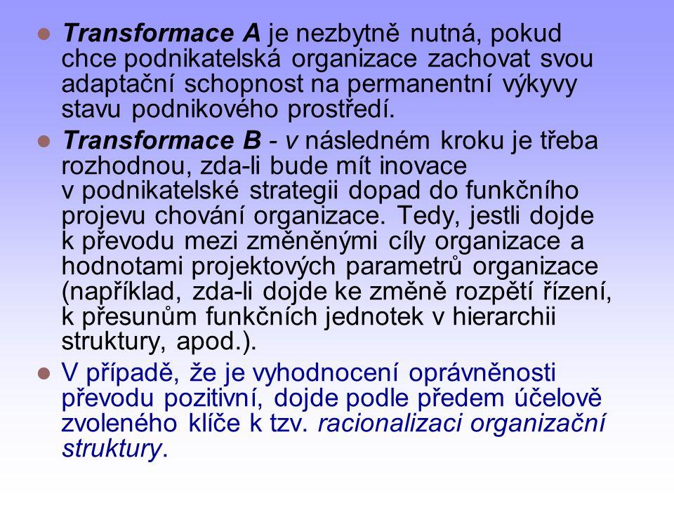 Transformace A je nezbytně nutná, pokud chce podnikatelská organizace zachovat svou adaptační schopnost na permanentní výkyvy stavu podnikového prostř