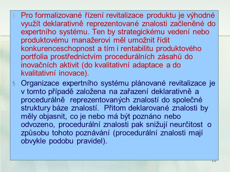 10 Pro formalizované řízení revitalizace produktu je výhodné využít deklarativně reprezentované znalosti začleněné do expertního systému.