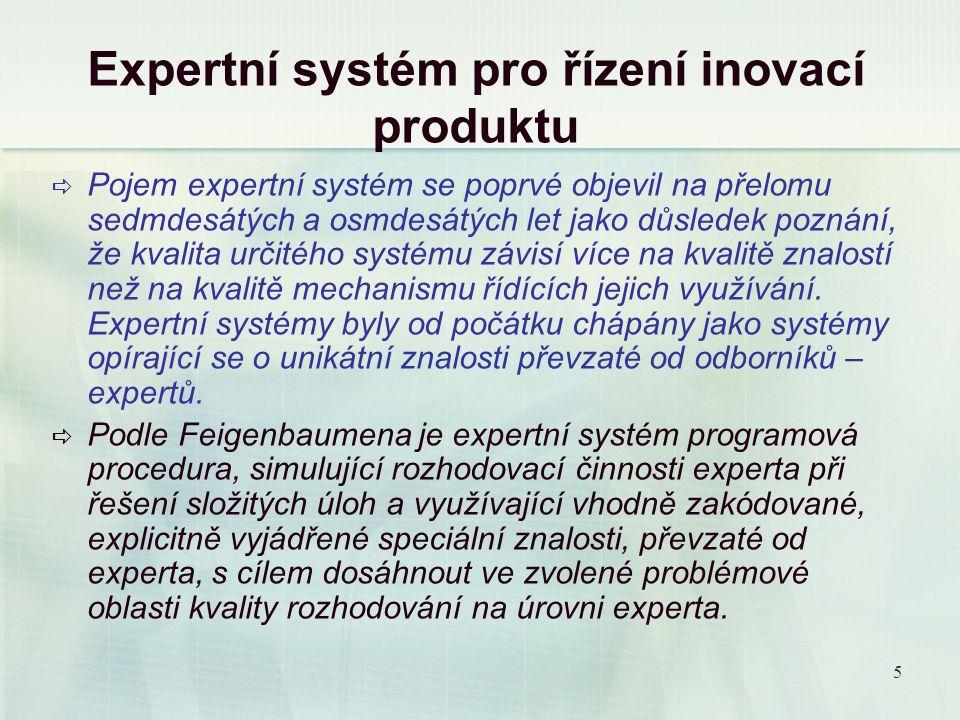 5 Expertní systém pro řízení inovací produktu  Pojem expertní systém se poprvé objevil na přelomu sedmdesátých a osmdesátých let jako důsledek poznání, že kvalita určitého systému závisí více na kvalitě znalostí než na kvalitě mechanismu řídících jejich využívání.