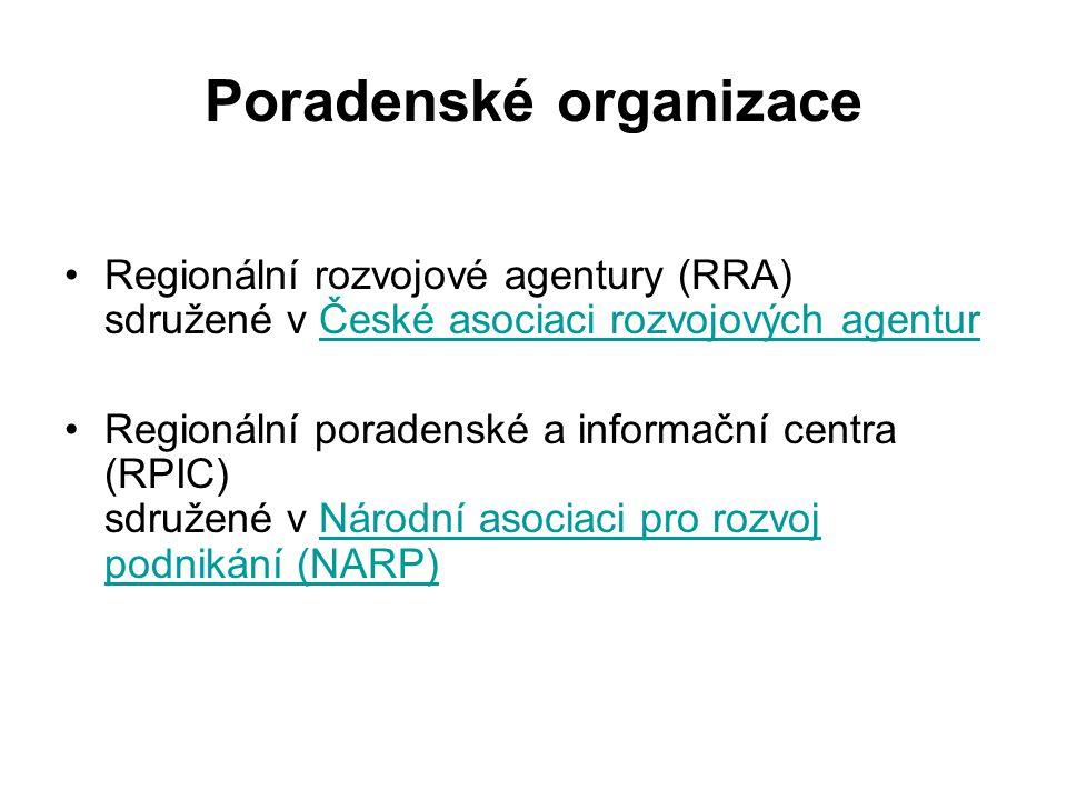 Poradenské organizace Regionální rozvojové agentury (RRA) sdružené v České asociaci rozvojových agenturČeské asociaci rozvojových agentur Regionální p
