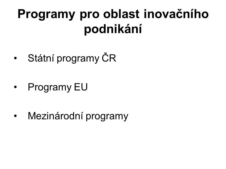 Programy pro oblast inovačního podnikání Státní programy ČR Programy EU Mezinárodní programy