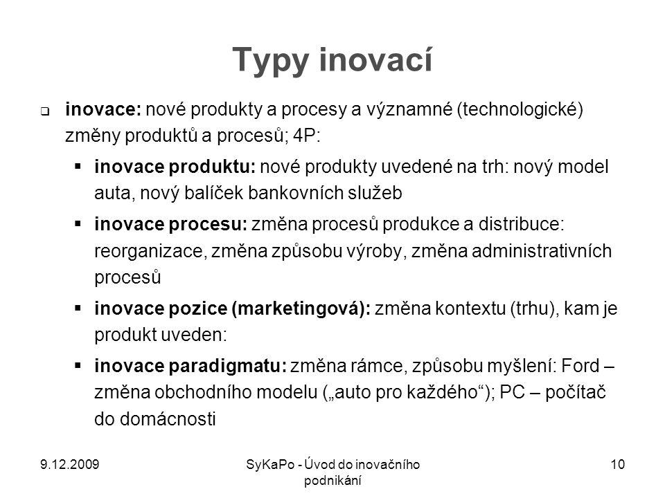 Typy inovací  inovace: nové produkty a procesy a významné (technologické) změny produktů a procesů; 4P:  inovace produktu: nové produkty uvedené na