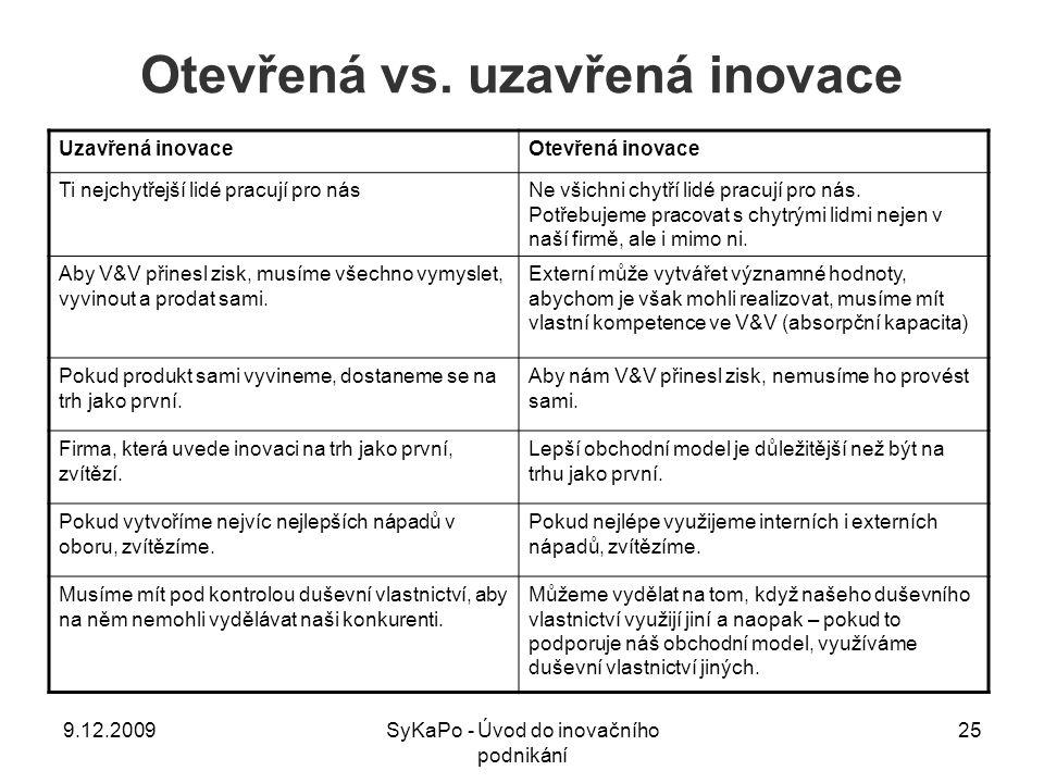 Otevřená vs. uzavřená inovace Uzavřená inovaceOtevřená inovace Ti nejchytřejší lidé pracují pro násNe všichni chytří lidé pracují pro nás. Potřebujeme