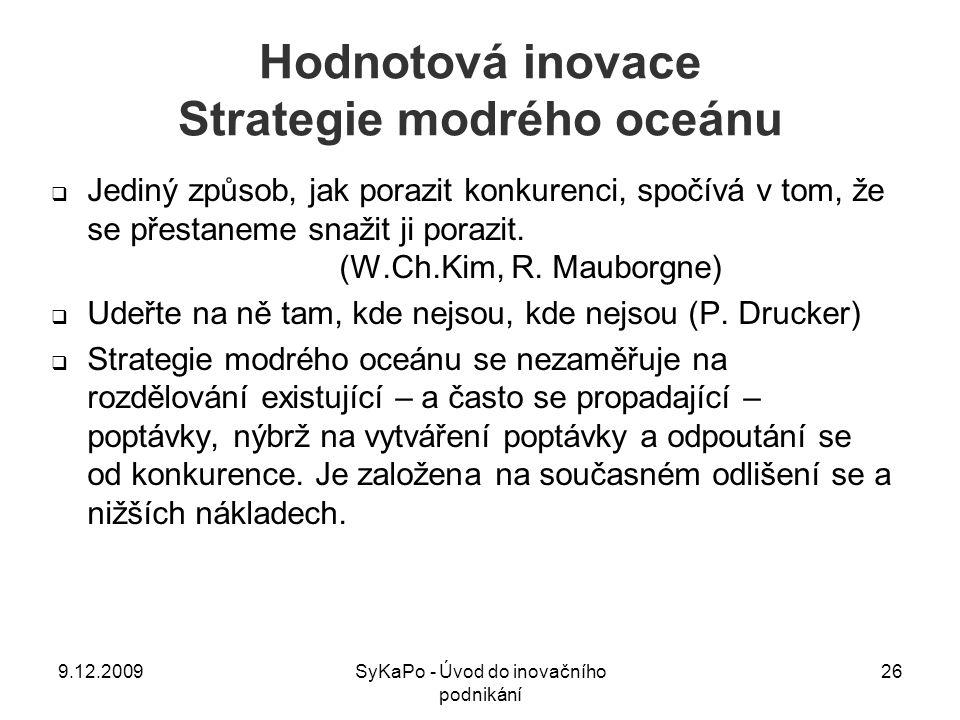 Hodnotová inovace Strategie modrého oceánu  Jediný způsob, jak porazit konkurenci, spočívá v tom, že se přestaneme snažit ji porazit. (W.Ch.Kim, R. M