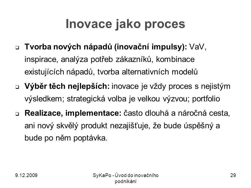 Inovace jako proces  Tvorba nových nápadů (inovační impulsy): VaV, inspirace, analýza potřeb zákazníků, kombinace existujících nápadů, tvorba alterna