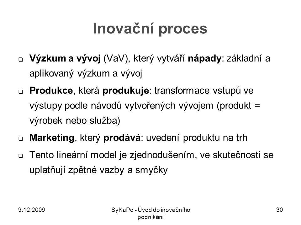 Inovační proces  Výzkum a vývoj (VaV), který vytváří nápady: základní a aplikovaný výzkum a vývoj  Produkce, která produkuje: transformace vstupů ve