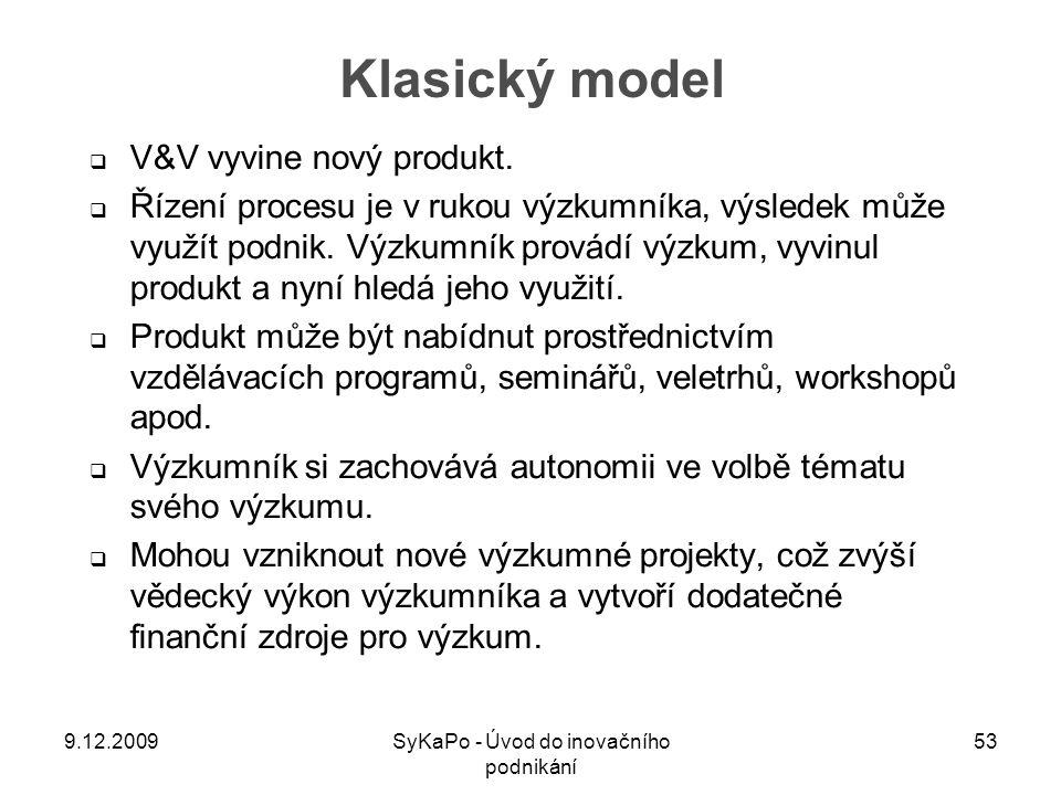 Klasický model  V&V vyvine nový produkt.  Řízení procesu je v rukou výzkumníka, výsledek může využít podnik. Výzkumník provádí výzkum, vyvinul produ