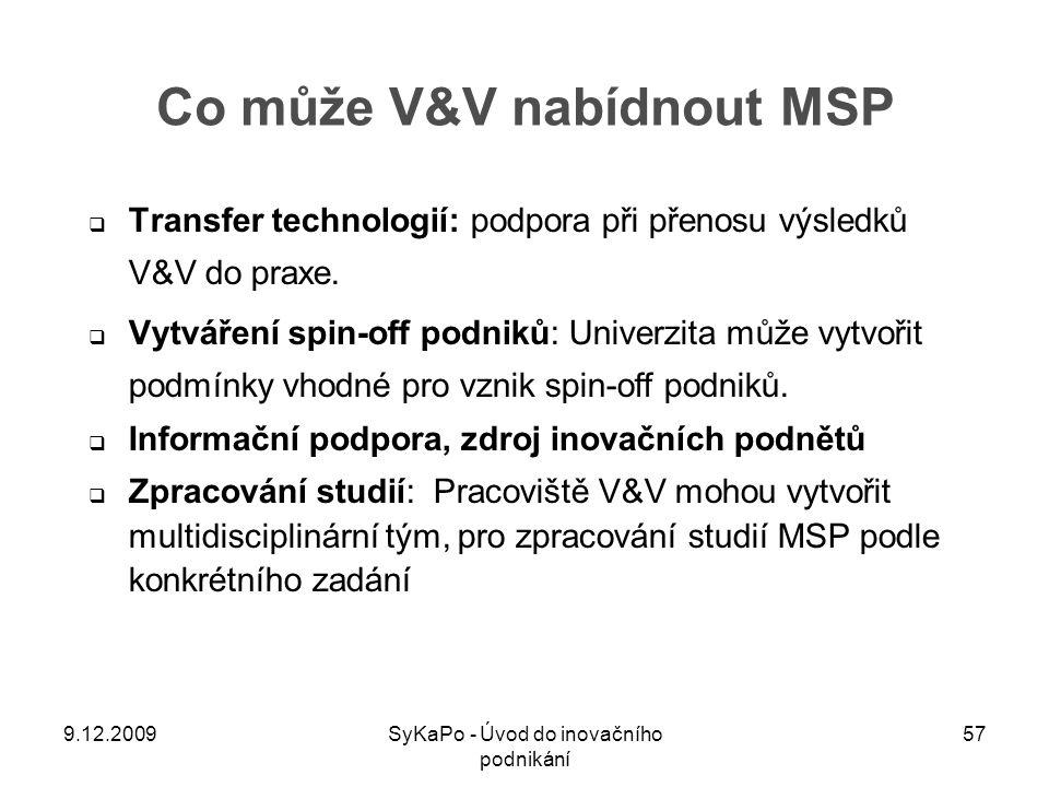 Co může V&V nabídnout MSP  Transfer technologií: podpora při přenosu výsledků V&V do praxe.  Vytváření spin-off podniků: Univerzita může vytvořit po