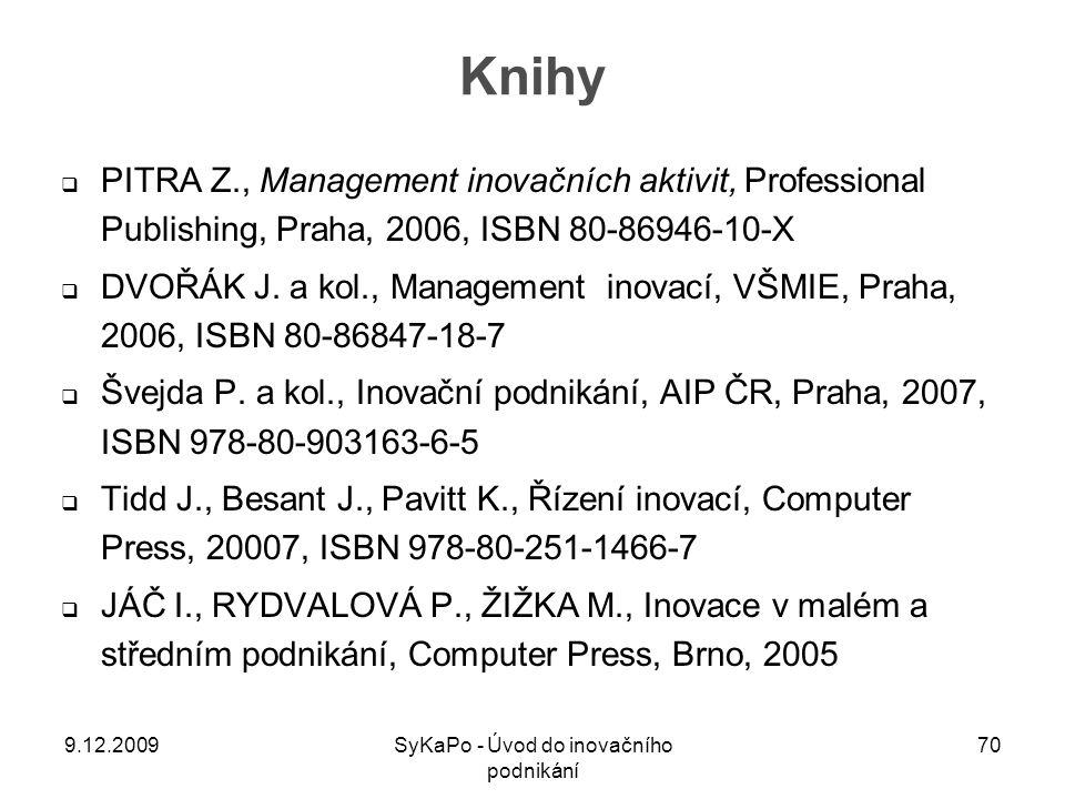Knihy  PITRA Z., Management inovačních aktivit, Professional Publishing, Praha, 2006, ISBN 80-86946-10-X  DVOŘÁK J. a kol., Management inovací, VŠMI