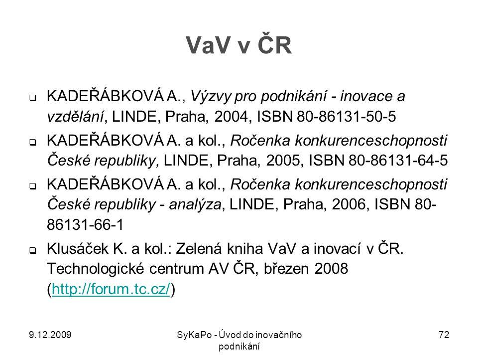 VaV v ČR  KADEŘÁBKOVÁ A., Výzvy pro podnikání - inovace a vzdělání, LINDE, Praha, 2004, ISBN 80-86131-50-5  KADEŘÁBKOVÁ A. a kol., Ročenka konkurenc