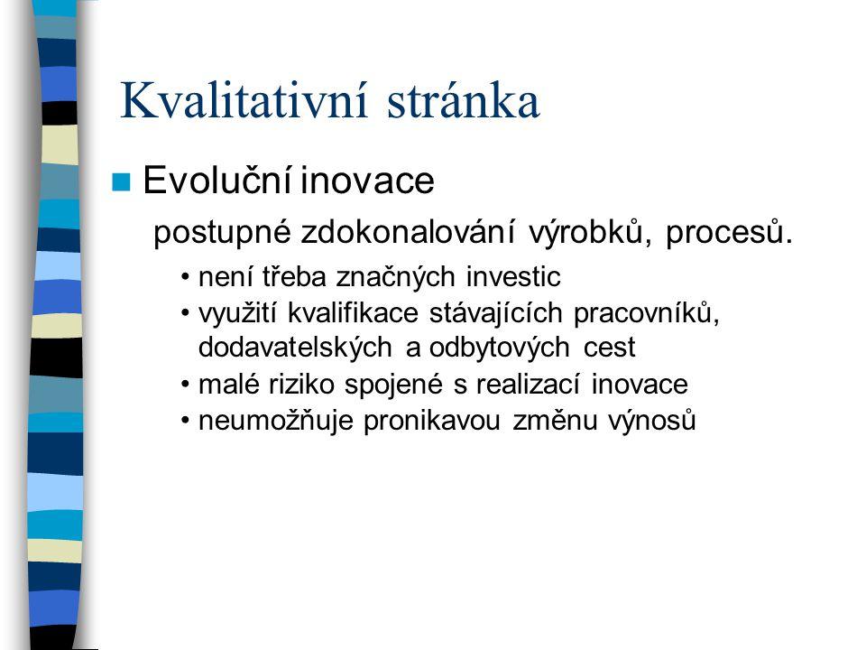 Inovační proces Kvalitativní stránka Kvantitativní stránka