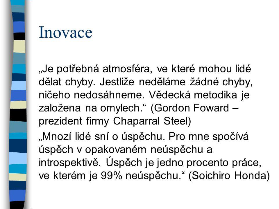 """Inovace """"Je potřebná atmosféra, ve které mohou lidé dělat chyby."""