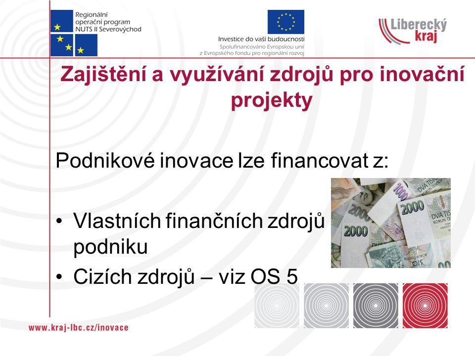 Zajištění a využívání zdrojů pro inovační projekty Podnikové inovace lze financovat z: Vlastních finančních zdrojů podniku Cizích zdrojů – viz OS 5