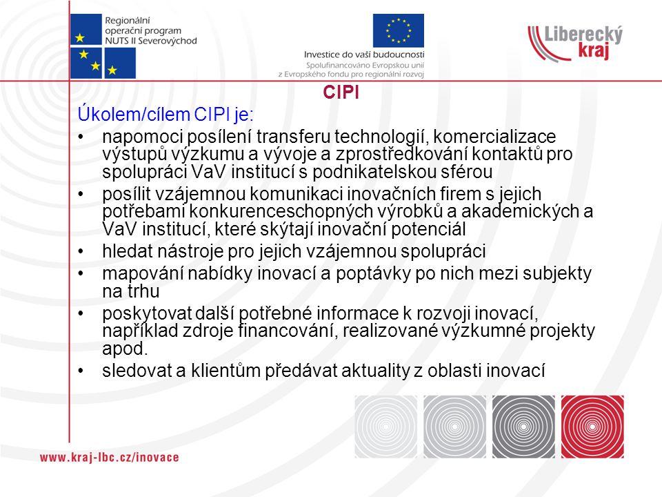 CIPI Úkolem/cílem CIPI je: napomoci posílení transferu technologií, komercializace výstupů výzkumu a vývoje a zprostředkování kontaktů pro spolupráci VaV institucí s podnikatelskou sférou posílit vzájemnou komunikaci inovačních firem s jejich potřebami konkurenceschopných výrobků a akademických a VaV institucí, které skýtají inovační potenciál hledat nástroje pro jejich vzájemnou spolupráci mapování nabídky inovací a poptávky po nich mezi subjekty na trhu poskytovat další potřebné informace k rozvoji inovací, například zdroje financování, realizované výzkumné projekty apod.