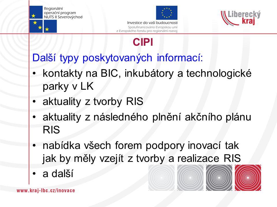 CIPI Další typy poskytovaných informací: kontakty na BIC, inkubátory a technologické parky v LK aktuality z tvorby RIS aktuality z následného plnění akčního plánu RIS nabídka všech forem podpory inovací tak jak by měly vzejít z tvorby a realizace RIS a další