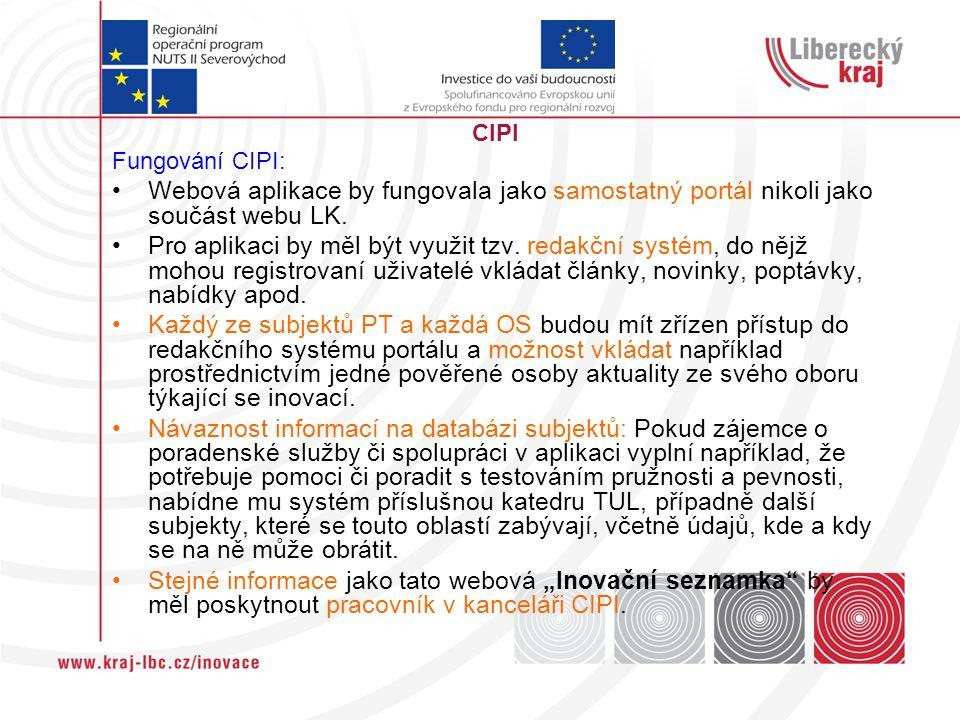 CIPI Fungování CIPI: Webová aplikace by fungovala jako samostatný portál nikoli jako součást webu LK.
