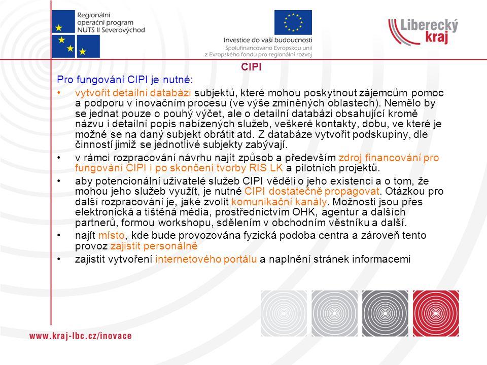 CIPI Pro fungování CIPI je nutné: vytvořit detailní databázi subjektů, které mohou poskytnout zájemcům pomoc a podporu v inovačním procesu (ve výše zmíněných oblastech).
