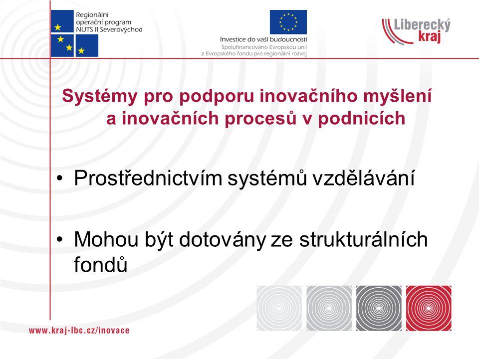 Systémy pro podporu inovačního myšlení a inovačních procesů v podnicích Prostřednictvím systémů vzdělávání Mohou být dotovány ze strukturálních fondů