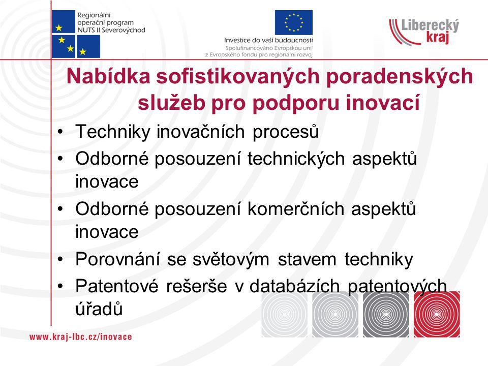 Nabídka sofistikovaných poradenských služeb pro podporu inovací Techniky inovačních procesů Odborné posouzení technických aspektů inovace Odborné posouzení komerčních aspektů inovace Porovnání se světovým stavem techniky Patentové rešerše v databázích patentových úřadů