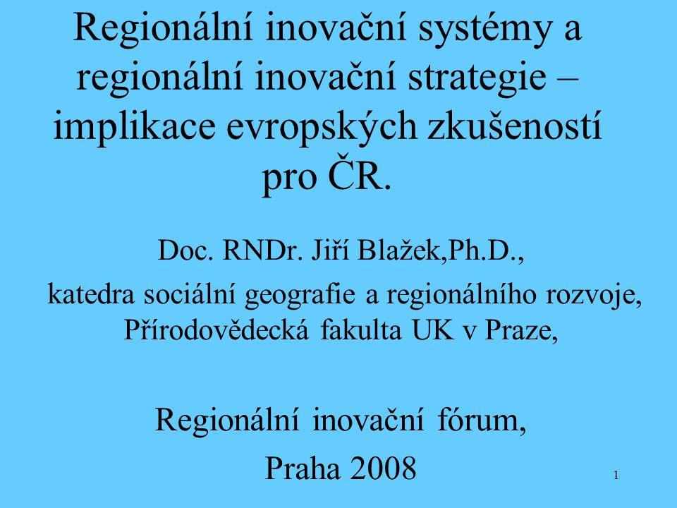 1 Regionální inovační systémy a regionální inovační strategie – implikace evropských zkušeností pro ČR. Doc. RNDr. Jiří Blažek,Ph.D., katedra sociální