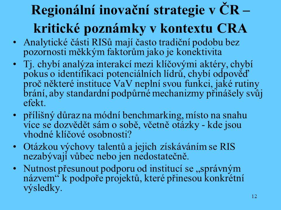 12 Regionální inovační strategie v ČR – kritické poznámky v kontextu CRA Analytické části RISů mají často tradiční podobu bez pozornosti měkkým faktorům jako je konektivita Tj.