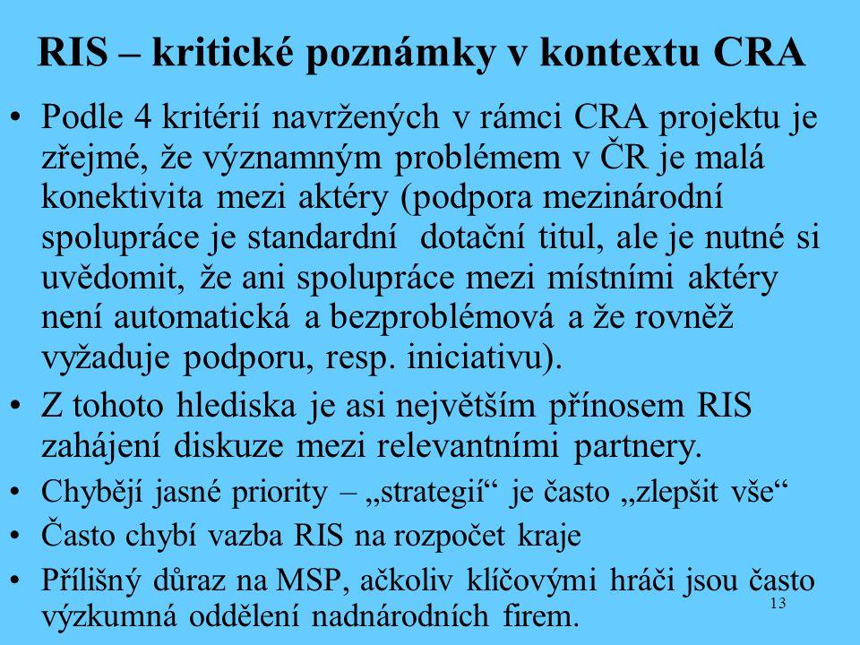 13 RIS – kritické poznámky v kontextu CRA Podle 4 kritérií navržených v rámci CRA projektu je zřejmé, že významným problémem v ČR je malá konektivita