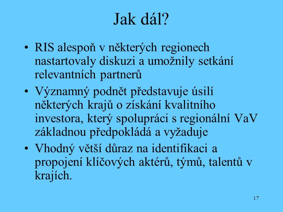 17 Jak dál? RIS alespoň v některých regionech nastartovaly diskuzi a umožnily setkání relevantních partnerů Významný podnět představuje úsilí některýc