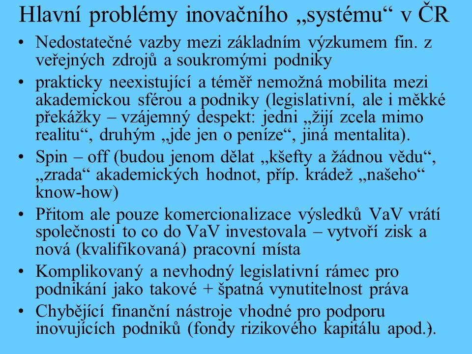 """7 Hlavní problémy inovačního """"systému"""" v ČR Nedostatečné vazby mezi základním výzkumem fin. z veřejných zdrojů a soukromými podniky prakticky neexistu"""