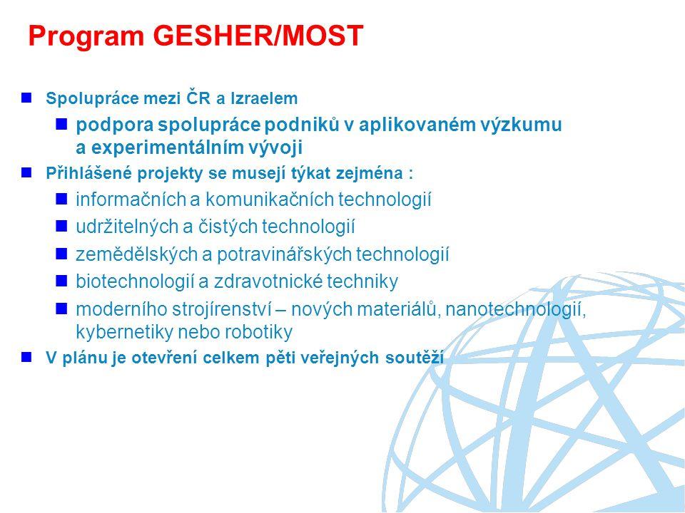 Program GESHER/MOST Spolupráce mezi ČR a Izraelem podpora spolupráce podniků v aplikovaném výzkumu a experimentálním vývoji Přihlášené projekty se musejí týkat zejména : informačních a komunikačních technologií udržitelných a čistých technologií zemědělských a potravinářských technologií biotechnologií a zdravotnické techniky moderního strojírenství – nových materiálů, nanotechnologií, kybernetiky nebo robotiky V plánu je otevření celkem pěti veřejných soutěží