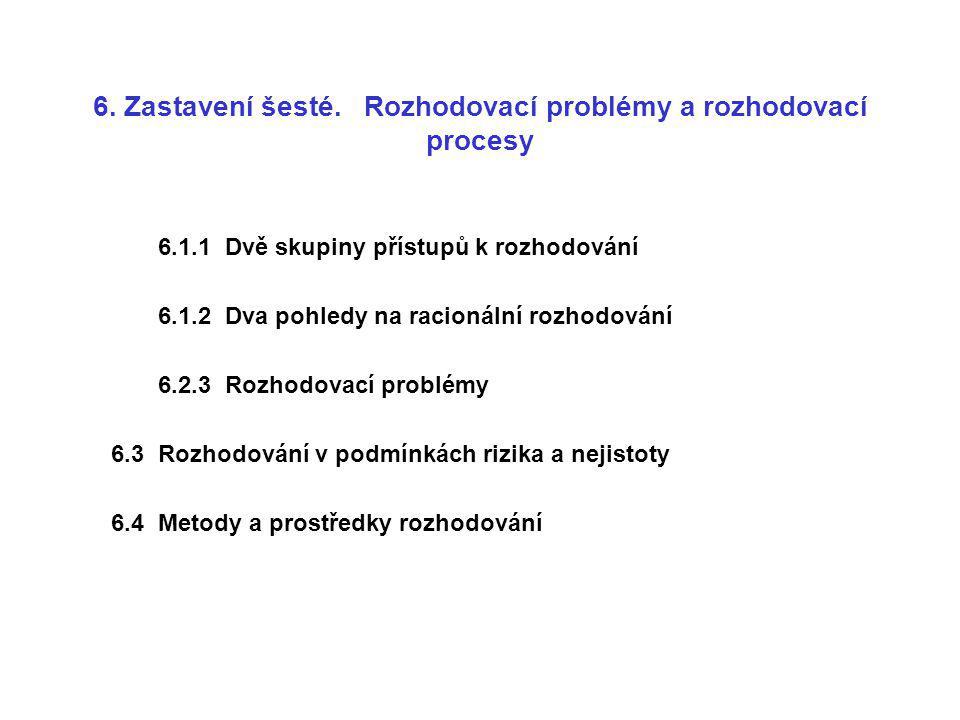 6. Zastavení šesté. Rozhodovací problémy a rozhodovací procesy 6.1.1 Dvě skupiny přístupů k rozhodování 6.1.2 Dva pohledy na racionální rozhodování 6.