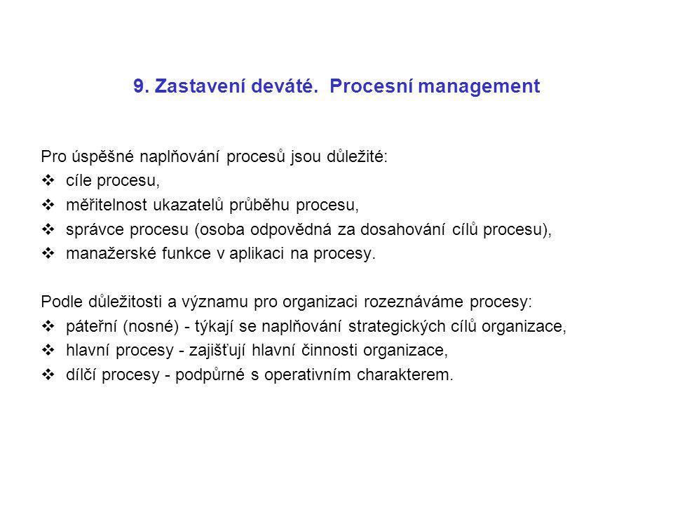 9. Zastavení deváté. Procesní management Pro úspěšné naplňování procesů jsou důležité:  cíle procesu,  měřitelnost ukazatelů průběhu procesu,  sprá