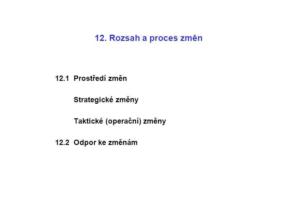 12. Rozsah a proces změn 12.1 Prostředí změn Strategické změny Taktické (operační) změny 12.2 Odpor ke změnám