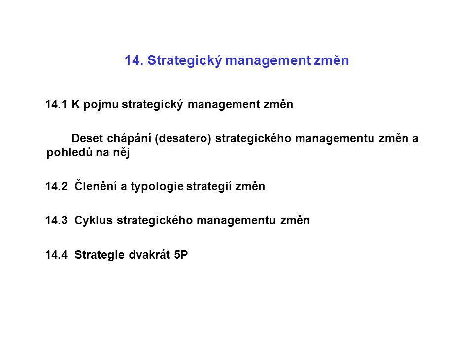 14. Strategický management změn 14.1 K pojmu strategický management změn Deset chápání (desatero) strategického managementu změn a pohledů na něj 14.2