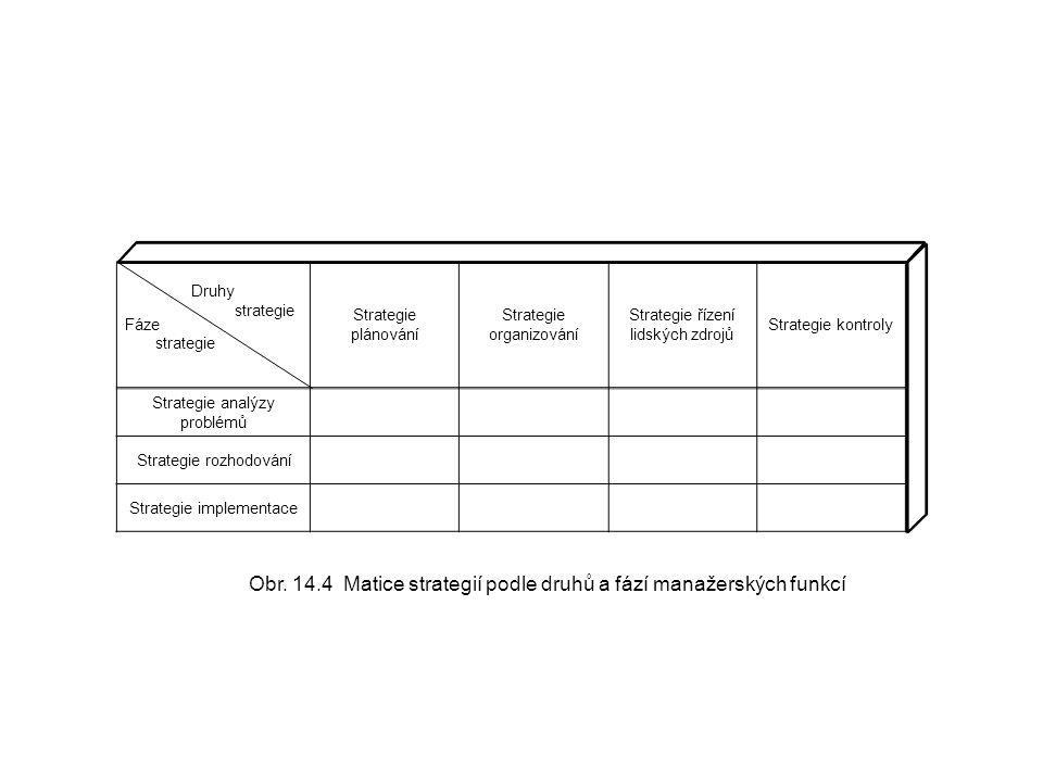 Fáze strategie Strategie plánování Strategie organizování Strategie řízení lidských zdrojů Strategie kontroly Strategie analýzy problémů Strategie roz