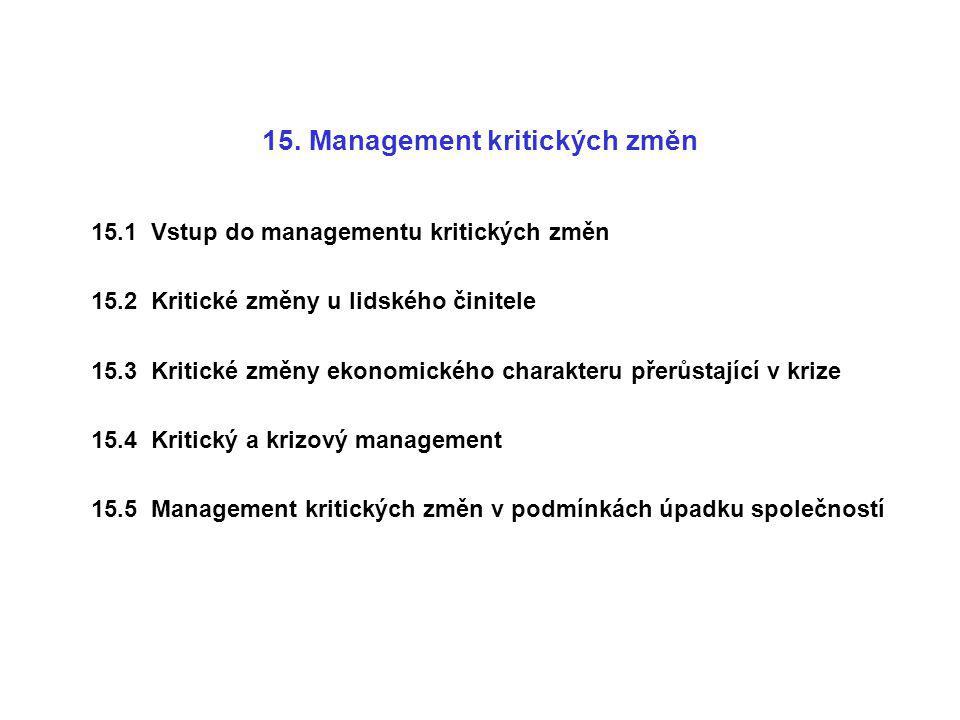 15. Management kritických změn 15.1 Vstup do managementu kritických změn 15.2 Kritické změny u lidského činitele 15.3 Kritické změny ekonomického char
