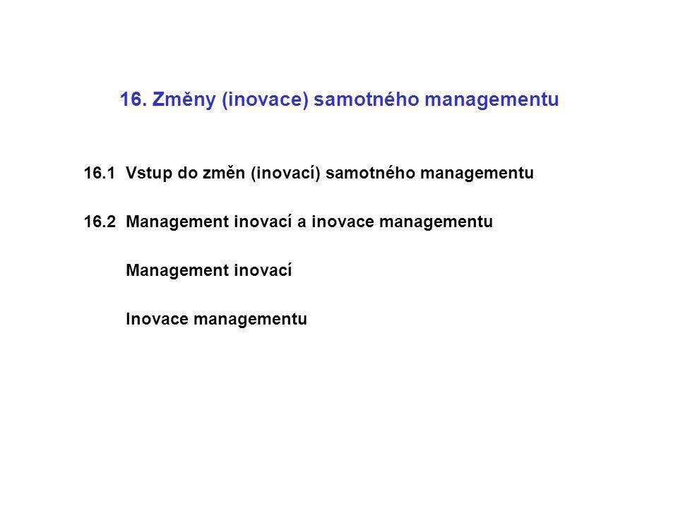 16. Změny (inovace) samotného managementu 16.1 Vstup do změn (inovací) samotného managementu 16.2 Management inovací a inovace managementu Management