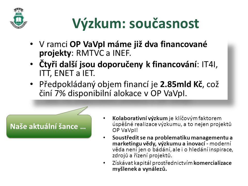 Výzkum: současnost V ramci OP VaVpI máme již dva financované projekty: RMTVC a INEF.