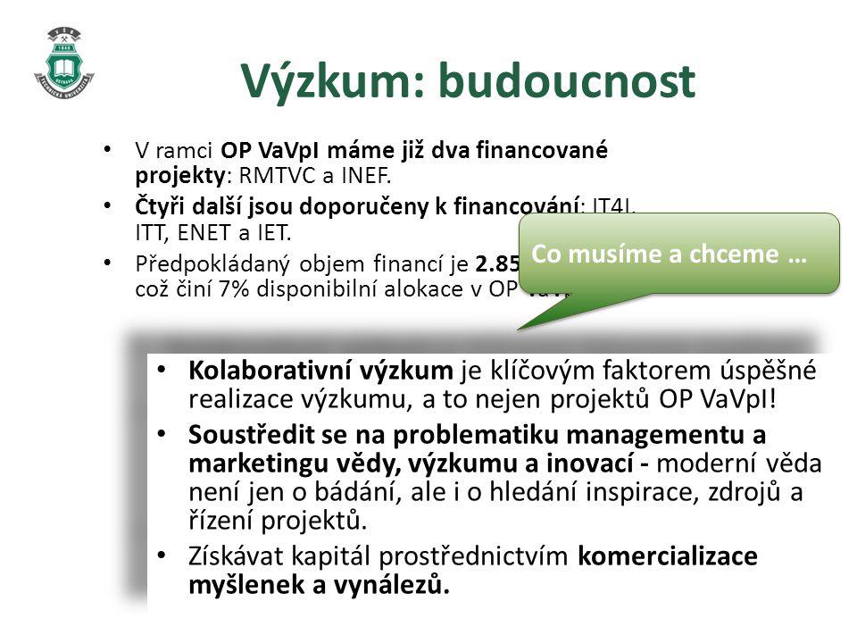 Výzkum: budoucnost V ramci OP VaVpI máme již dva financované projekty: RMTVC a INEF.