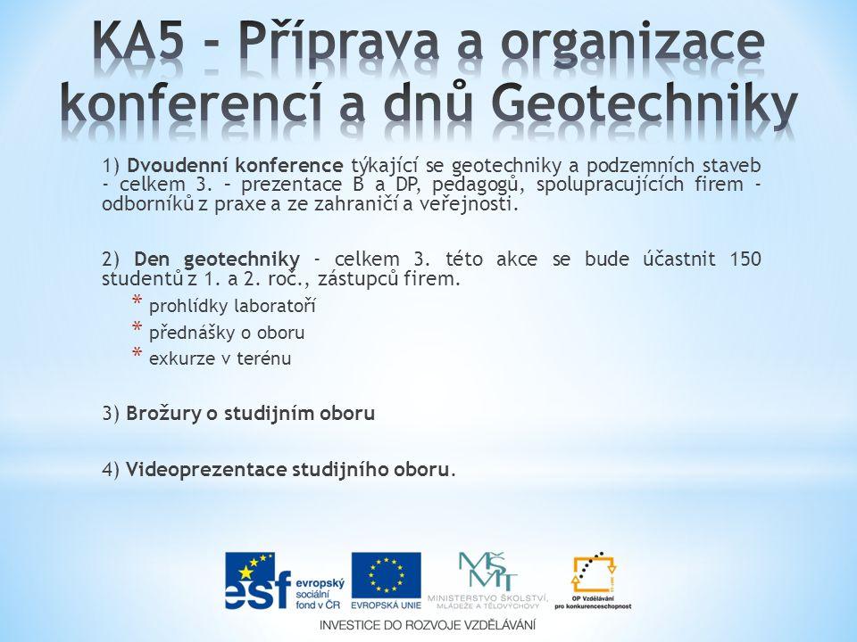 1) Dvoudenní konference týkající se geotechniky a podzemních staveb - celkem 3. – prezentace B a DP, pedagogů, spolupracujících firem - odborníků z pr