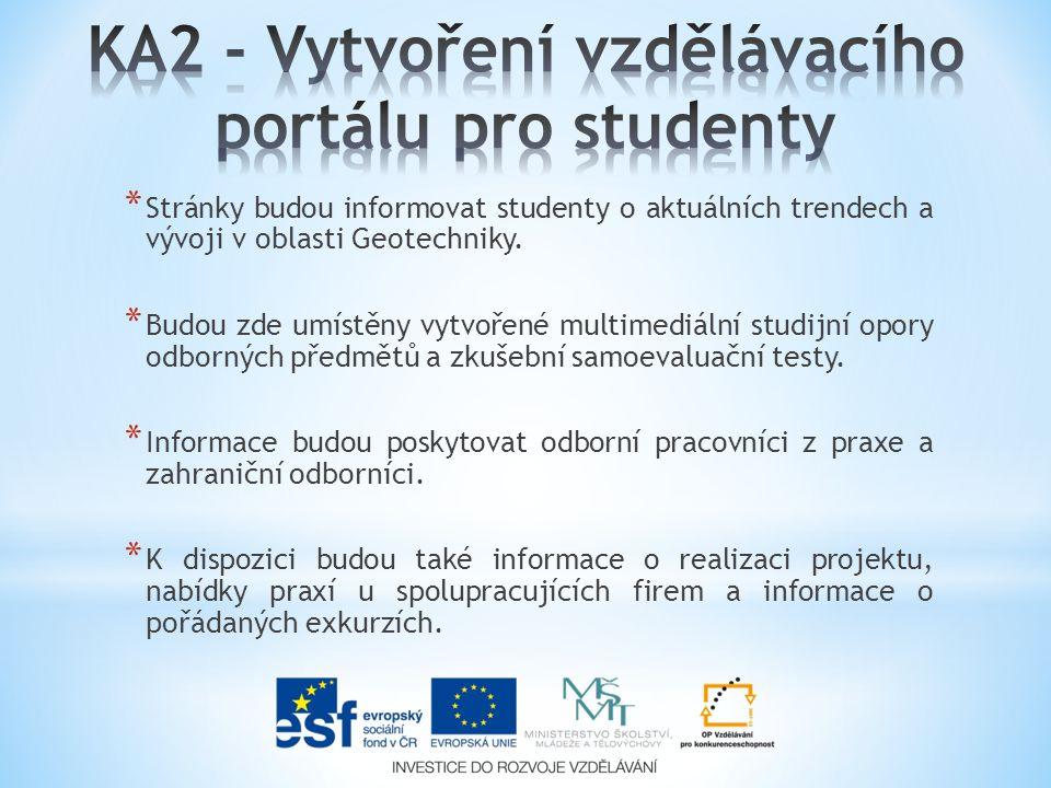 * Stránky budou informovat studenty o aktuálních trendech a vývoji v oblasti Geotechniky.