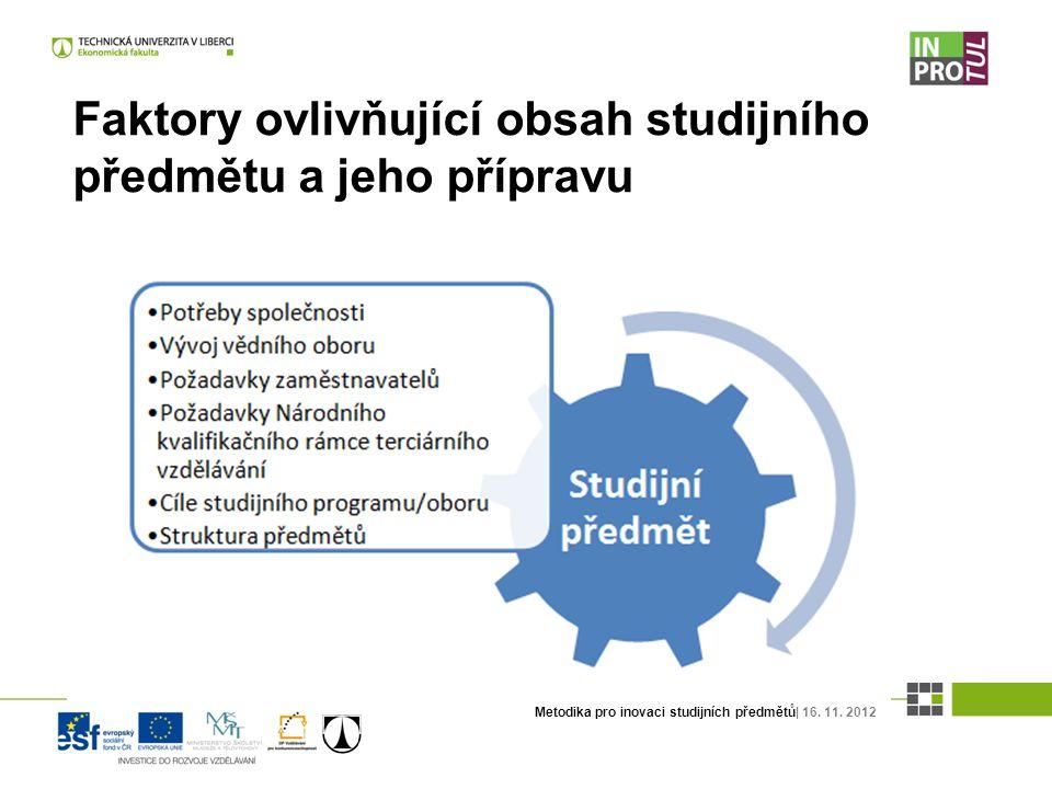 Metodika pro inovaci studijních předmětů| 16. 11. 2012 Faktory ovlivňující obsah studijního předmětu a jeho přípravu