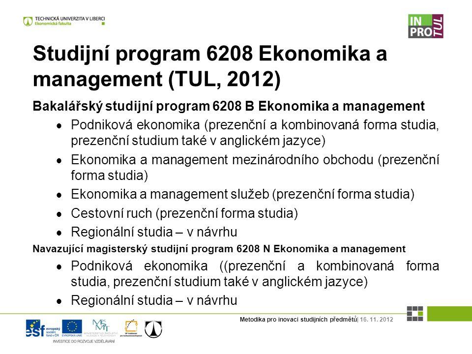 Metodika pro inovaci studijních předmětů| 16. 11. 2012 Studijní program 6208 Ekonomika a management (TUL, 2012) Bakalářský studijní program 6208 B Eko