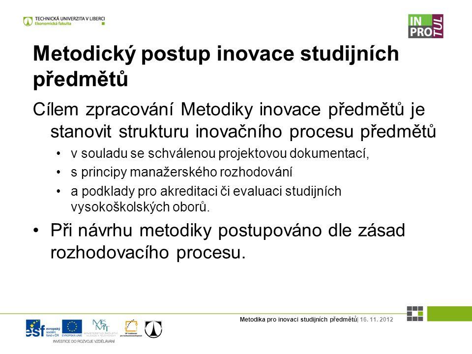 Metodika pro inovaci studijních předmětů| 16. 11. 2012 Metodický postup inovace studijních předmětů Cílem zpracování Metodiky inovace předmětů je stan