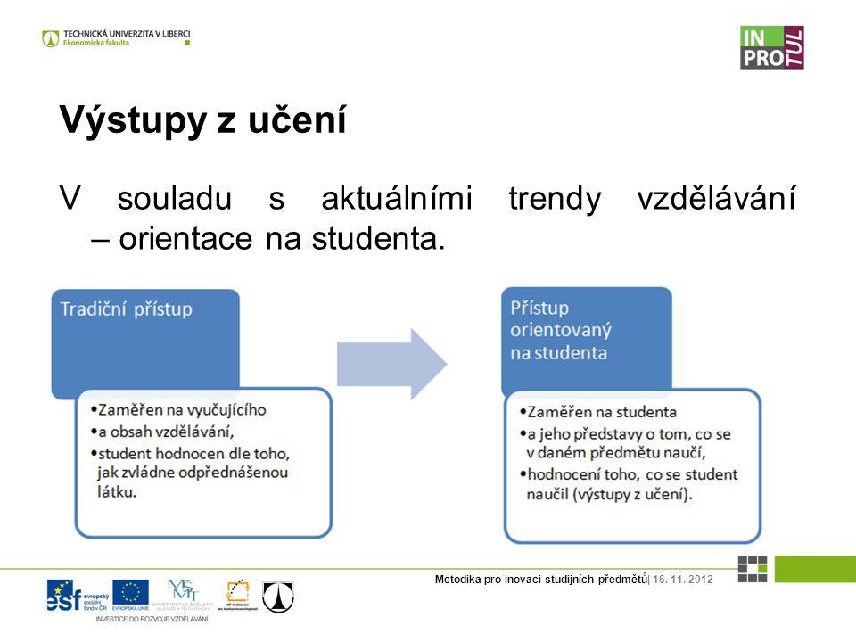 Metodika pro inovaci studijních předmětů| 16. 11. 2012 Výstupy z učení V souladu s aktuálními trendy vzdělávání – orientace na studenta.