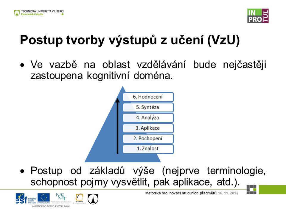 Metodika pro inovaci studijních předmětů| 16. 11. 2012 Postup tvorby výstupů z učení (VzU)  Ve vazbě na oblast vzdělávání bude nejčastěji zastoupena